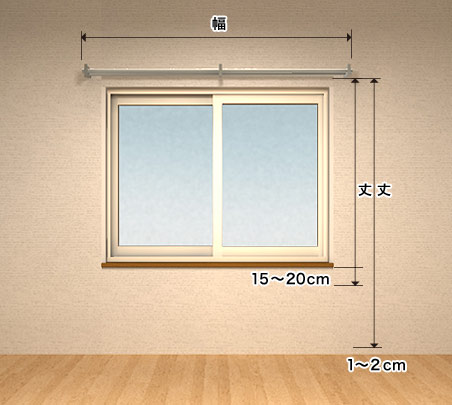 腰窓のカーテン採寸方法