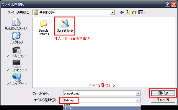 ファイルを指定